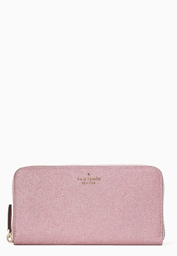 Kate Spade pink Kate Spade Lola Glitter Large Continental Wallet - Rose Pink CDD5BAC3F3E81AGS_1