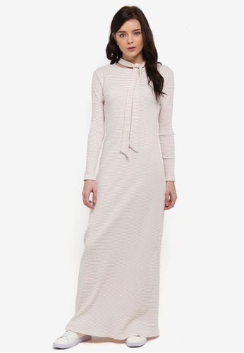 Zalia white Stripe Rib Dress 67924AAEE9D5D0GS_1