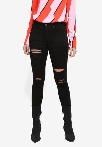 TOPSHOP black Moto Black Super Rip Leigh Jeans C2569AAB27263CGS_1