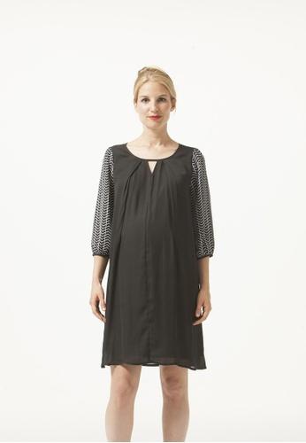 Bove by Spring Maternity black Ls Zea Chevy Nursing Dress Black Print 787E3AAAE18FB6GS_1