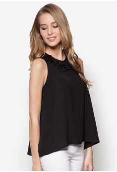 Racer-Back Blouse With Ruffles Trim