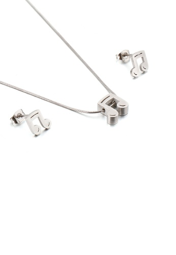 Glamorousky 銀色 時尚氣質音符316L鋼項鏈和耳釘套裝 EB11EAC45ED770GS_1