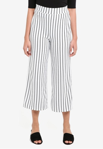 Miss Selfridge white White Striped Cropped Wide Leg Trousers F8843AA6DE8218GS_1