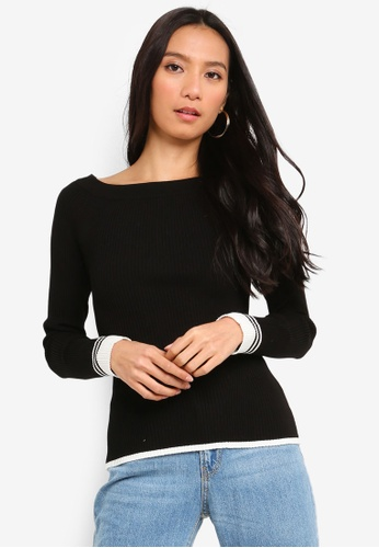 River Island black Ls Boat Neck Tipping Top 8B165AA4713307GS_1