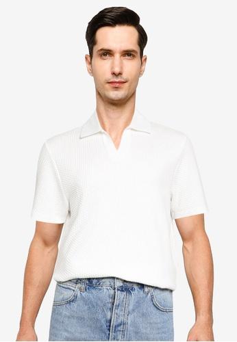Topman white White Notch Waffle Textured Polo EC42AAAE1581D8GS_1