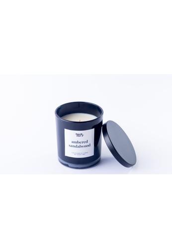 Happy Island black Ambered Sandalwood Soy Candle 10oz BD126HL3C83E9DGS_1