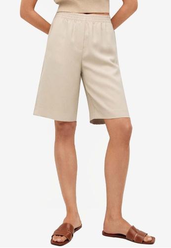 Mango beige Elastic Waist Bermuda Shorts 1158CAA54979BAGS_1