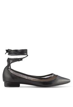 【ZALORA】 網眼拼接纏繞繫帶將頭平底鞋