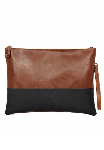 Lara black and brown Color Block Hand Bag - Brown 28C5DACB44A5F5GS_1