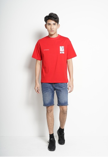 SUB red Men Oversized Short-Sleeve Graphic Tee 952FEAA89B1683GS_1