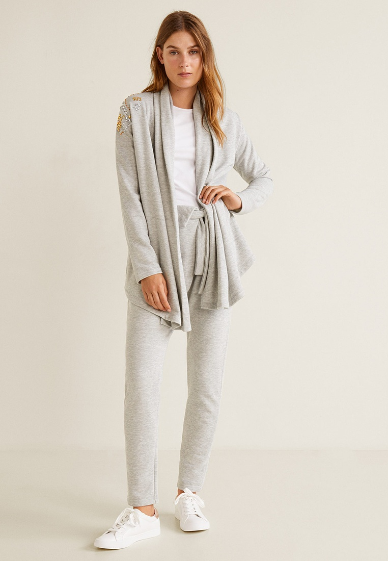 Light Cotton Pastel Mango Crystals Grey Cardigan q6ZZ0t
