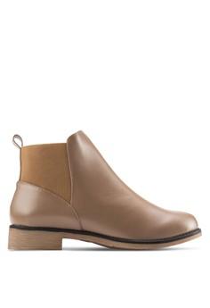 【ZALORA】 側拼接切爾西短靴