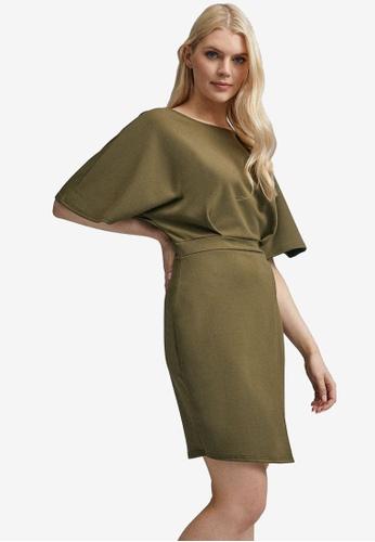 Dorothy Perkins Damen Khaki Kimono Sleeve Bodycon Dress L/ässiges Kleid