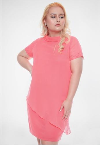 Paperdolls pink Milly by Paperdolls Plus Size Asymmetrical Bottom Dress D78AAAAF51C122GS_1