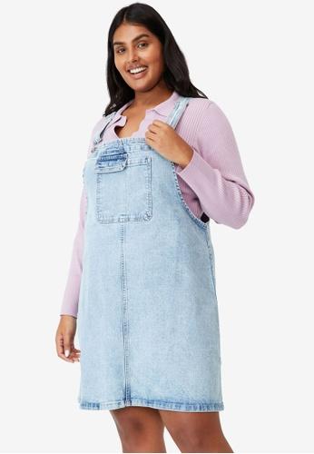 Cotton On 藍色 大尺碼 Utility 丹寧 吊帶洋裝 70BFCAA19B8CCBGS_1