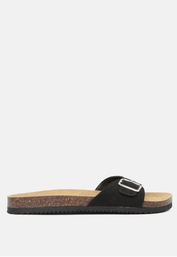 London Rag black Comfort Sliders with Adjustable Toe Strap A035FSHEEFE002GS_1