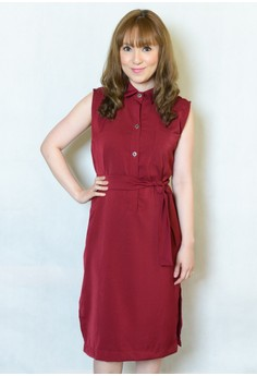 Collared Belted Button Down Dress