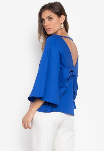 CANVAS blue Sabrina V-back with Draped Exaggerated Bow 0AFF1AA2B3F4E1GS_1