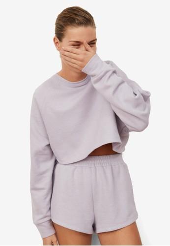Mango purple Crop Sweatshirt 9E4FDAA2EDF071GS_1