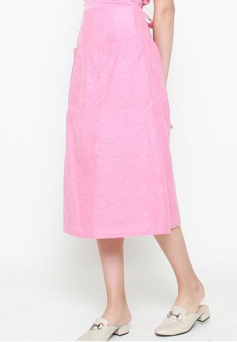 QLOTHE pink Zera A-line Skirt A4619AAC2B35E1GS_1