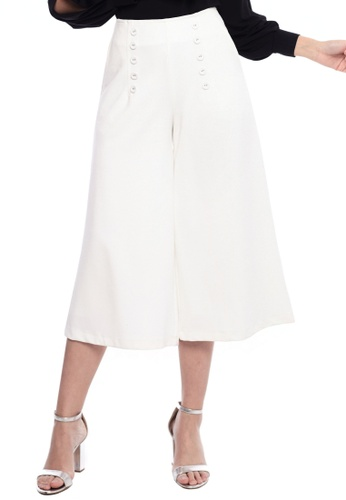 Nichii white Basic Button Wide Leg Pants 395A2AA9E9868DGS_1