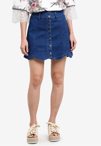 Something Borrowed blue Scallop Hem Denim Mini Skirt 35507ZZ8BA8074GS_1