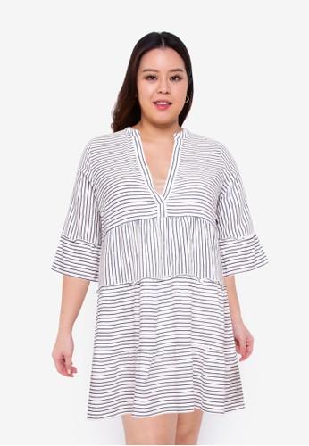 Vero Moda white Plus Size Heli 3/4 Short Dress 23B21AA0EEB431GS_1