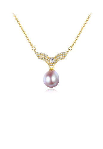 Glamorousky white 925 Sterling Silver Plated Gold Fashion Bright Wings Purple Freshwater Pearl Necklace with Cubic Zirconia 80898ACA8618C6GS_1