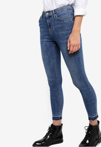 TOPSHOP blue Petite Jamie Let Down Hem Jeans TO412AA57NOWMY_1