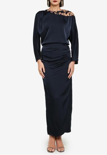 Zalia 藍色 and 褐色 Shoulder Drape Top With Skirt Set 71193AA324C240GS_1