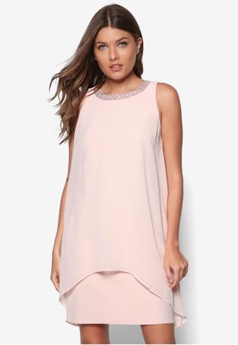 Petite 閃飾假兩件無袖洋zalora 折扣碼裝, 服飾, 洋裝