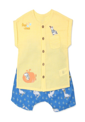 Organic mom yellow and blue Organic Cotton Bondy Dinosaur Outfit 2BFE7KAACCDA85GS_1