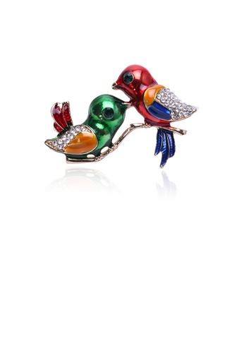 Glamorousky white Fashion and Lovely Plated Gold Double Bird Brooch with Cubic Zirconia 47C13AC062D7B9GS_1
