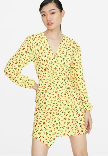 Pomelo yellow Mini Cherry Print Wrap Dress - Yellow D54E2AA9DC9926GS_1