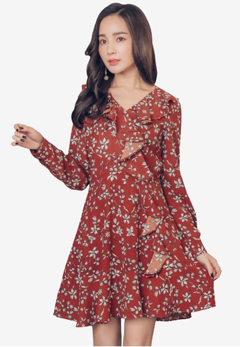 YOCO red and multi Frill & Floral Skater Dress 41BABAA2E5702FGS_1