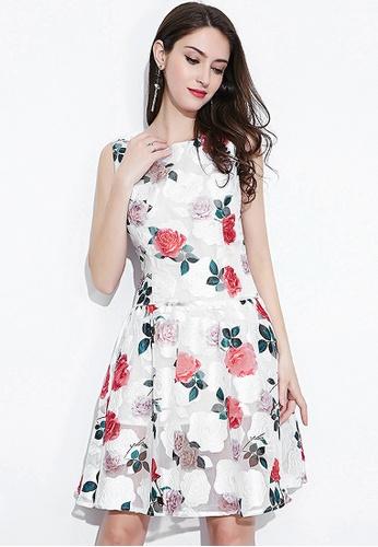 Urban Outlier white Floral Printed Sleeveless Mini Dress BA37FAA42F6480GS_1