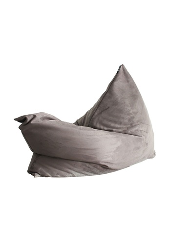 SoftRock grey VESUVIUS – Linen-Style Upholstery and Synthetic Suede Versatile SoftRock Bean Bag (Asteroid Grey) FD462HL44DA02CGS_1
