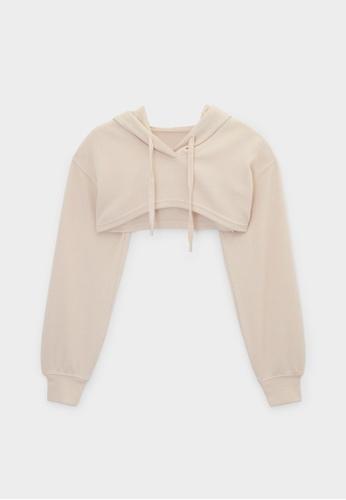 Pomelo beige Cropped Long Sleeve Hoodie Top - Beige B693EAAFBB7DC9GS_1