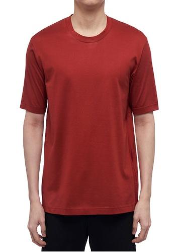 CK CALVIN KLEIN red Double Mercerised Cotton Jersey Short-Sleeved T-Shirt 60201AA668B555GS_1