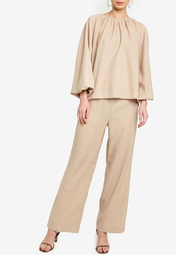 Zalia beige Gathered Round Neck Top With Pants Set 34F18AA9D4B578GS_1