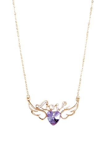 Eden 文字esprit官網心形翅膀吊飾項鍊, 飾品配件, 項鍊