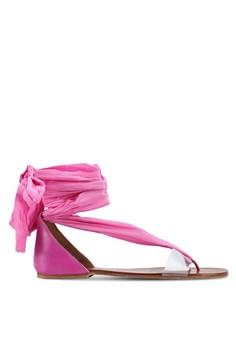 緞帶交叉繞帶夾腳涼鞋