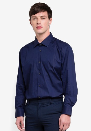 OVS navy Slim Fit Stretch Cotton Shirt E4565AA3BD850AGS_1