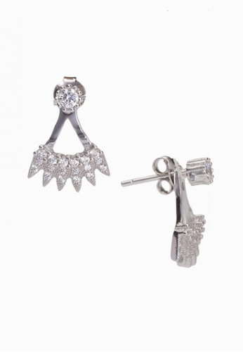 SHANTAL JEWELRY grey and silver Cubic Zirconia Silver Crown-Shaped Stud Earrings SH814AC26EKJSG_1