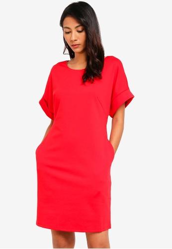 UniqTee red Drape Dress with Pockets 90C19AA73F812EGS_1