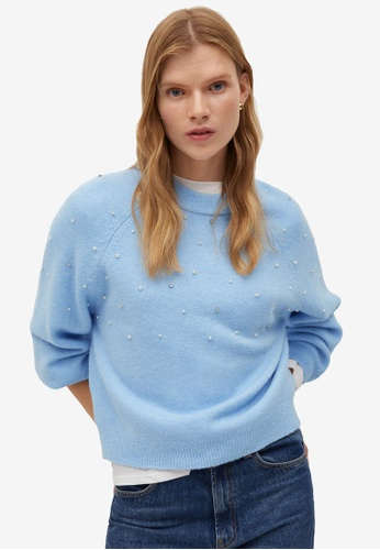 Mango blue Pearls Knitted Sweater C2C52AA15B7880GS_1