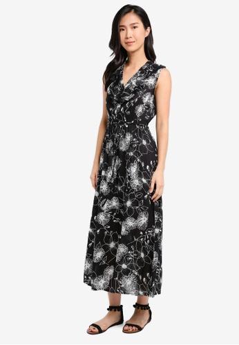 ZALORA black and multi V Neck Tie Waist Maxi Dress 0A3C6AABB1DD32GS_1