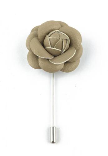 Splice Cufflinks silver Beige PU Leather Camellia Flower Lapel Pin SP744AC13FAGSG_1