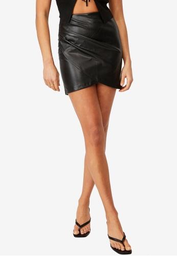 Supre black Giana Gathered PU Skirt 136DCAAC835818GS_1