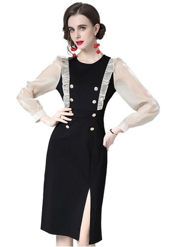 Sunnydaysweety black Elegant Fashion Polyester One-piece Dress A0321102-0BK 989E4AA70B4DE3GS_1